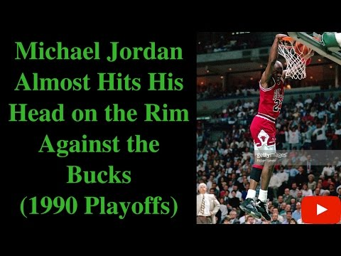 Michael Jordan Almost Hits His Head on the Rim in Dunk (1990)