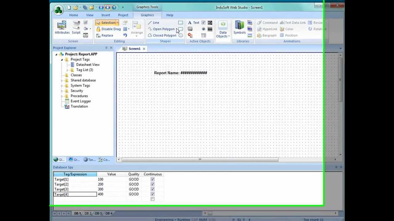 InduSoft SCADA reports demo video