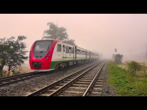 DEMU Train of Bangladesh Railway passing through Dense Fog