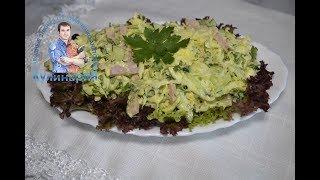 Салат из молодой капусты с колбасой и майонезом