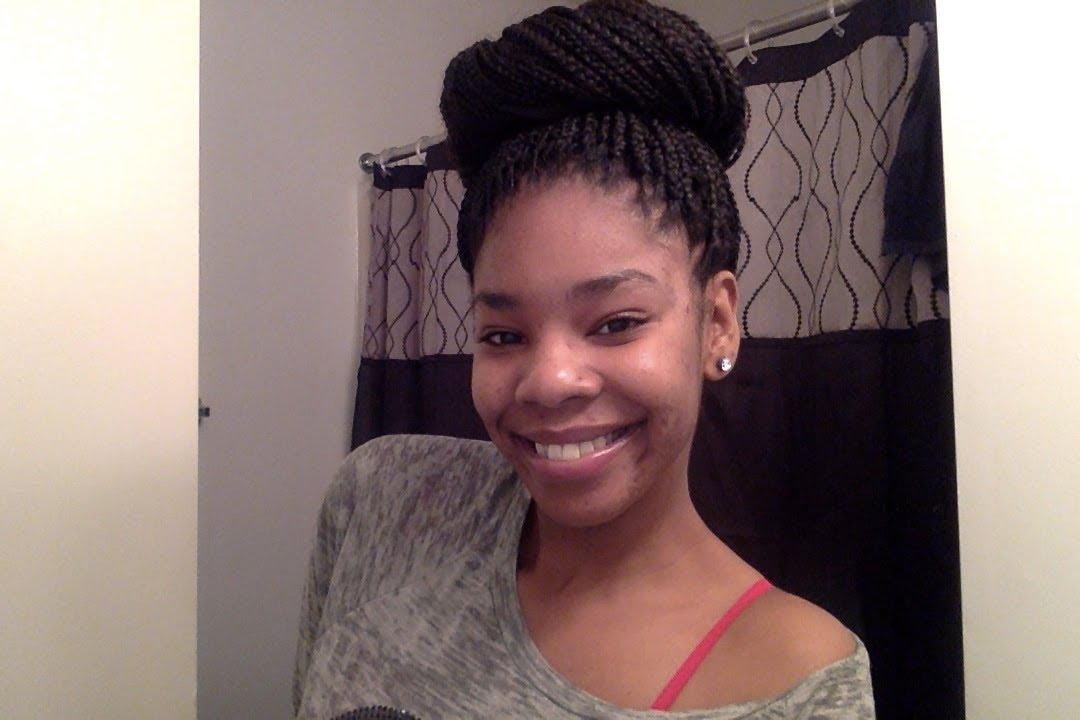 High Bun With Box Braids Tutorial Youtube