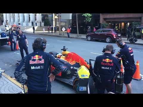 Red Bull F1 Car in Downtown San Francisco 01 (Firing up the Bull)
