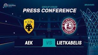 AEK v Lietkabelis - Press Conference - Basketball Champions League 2018-19