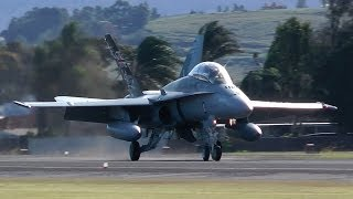 F/A-18 Hornets Arrival and 30 knots Crosswind Landing