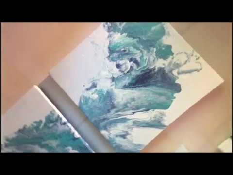 Blue Fluid Acrylic Painting Tutorial (Flip & Drag Technique) 2018