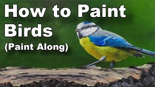 how to paint birds in oil paint along art classes - blue tit