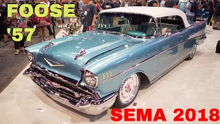 Chip Foose 1957 Chevy Bel Air Convertible at 2018 SEMA Show Reveal in Las Vegas V8TV