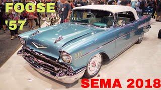Chip Foose 1957 Chevy Bel Air Convertible at 2018 SEMA Show Reveal in Las Vegas V8TV