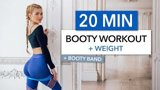 20 MIN BOOTY WORKOUT - Weights & Booty Band / double the torture for a round booty I Pamela Reif