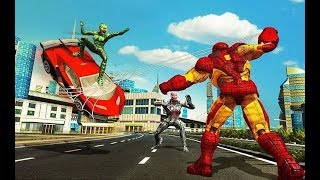 Iron Spider Hero Robot Superhero Flying Robot Game | Flying Spider City Crime | Android GamePlay