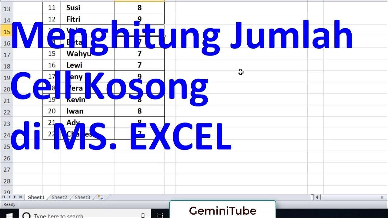 Cara Menghitung Kolom Kosong di Excel II Menghitung Jumlah ...