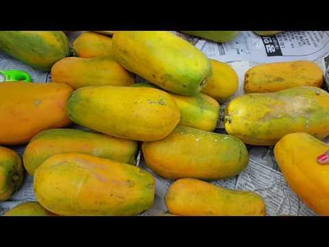 Asian Street Food, Market Food In Phnom Penh, Fresh Organic Papaya, Street Food VDO #2018