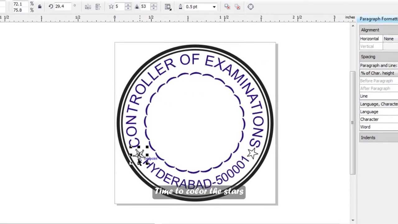 How to make a simple stamp in corel draw english subs for How to make a blueprint online