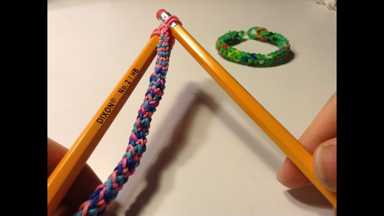 Easy Inverted Fishtail Rainbow Loom Bracelet W Pencils