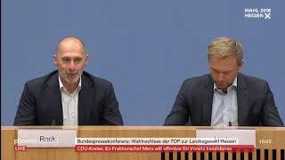 Christian Lindner und René Rock zum Ausgang der Landtagswahl in Hessen am 29.10.18