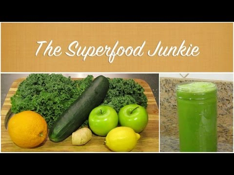 Basic Green Juice Recipe: Kale, Cucumber, Apples, Orange, Lemon, Ginger