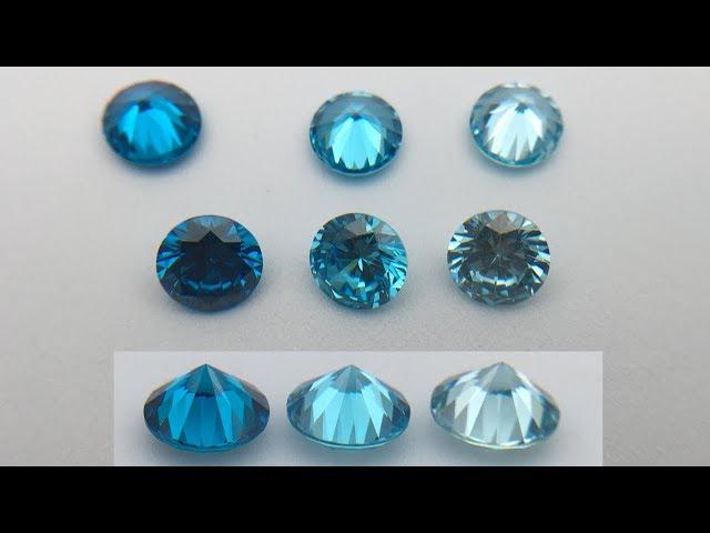 Cubic Zirconia Aquamarine Dark Medium Light Color Shades Comparison