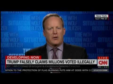 Sean Spicer Defends Trump Tweets On Flag Burning, Illegal Voting Myth