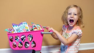 HUGE Squishy Surprise Toys Shopping Cart Toy for Kids Blind Bags for Girls Kinder Playtime