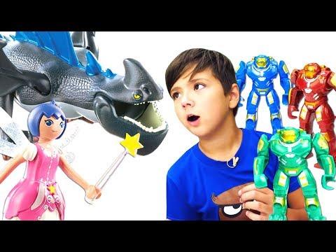 Новое видео про игрушки Плеймобил. Супер Четверка спасает город! Фигурки Playmobil для детей