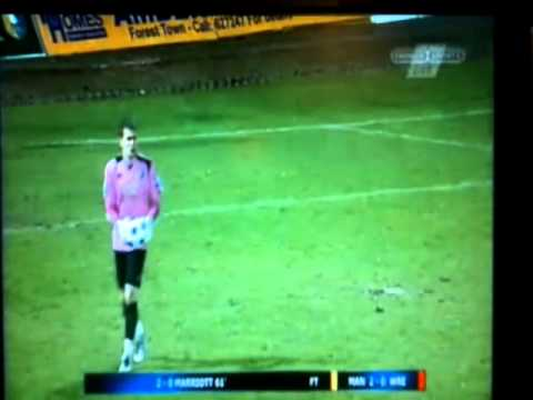 Mansfield Town Keeper Alan Marriott scores against Wrexham  200412