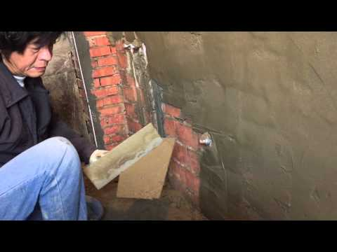 Bathroom Album:Sand and Cement Rendering on Brick Walls First Coat in Bathroom - Part2(左官)