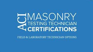aci masonry technician certification