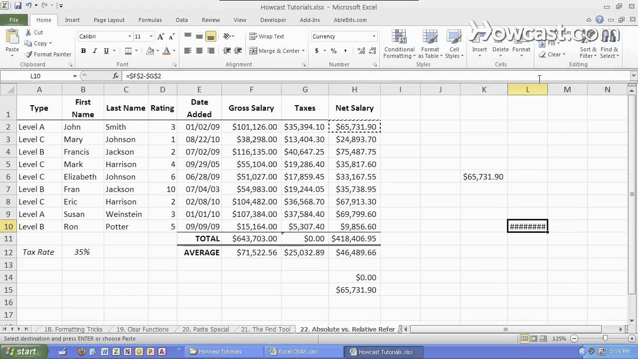 How to make an excel formula absolute - Absolute Vs Relative Formulas Microsoft Excel