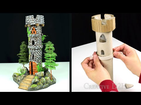 DIY Miniature Tower Recycling Trash | Paper Mache Tutorial | Faux Wood Door & Stone
