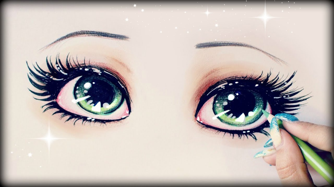 Drawing Tutorial How to draw and color Green Eyes - YouTube