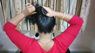 2 Min Easy Everyday Top Messy Bun Hairstyle || how to do a messy bun || hair bun || messy bun