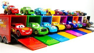 Learning Color Disney Pixar Cars Lightning McQueen baby size car carrier play video for kids