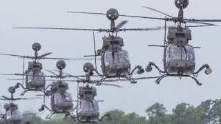 US Military puts a SHOW OF FORCE with large Helicopter Aircraft formation
