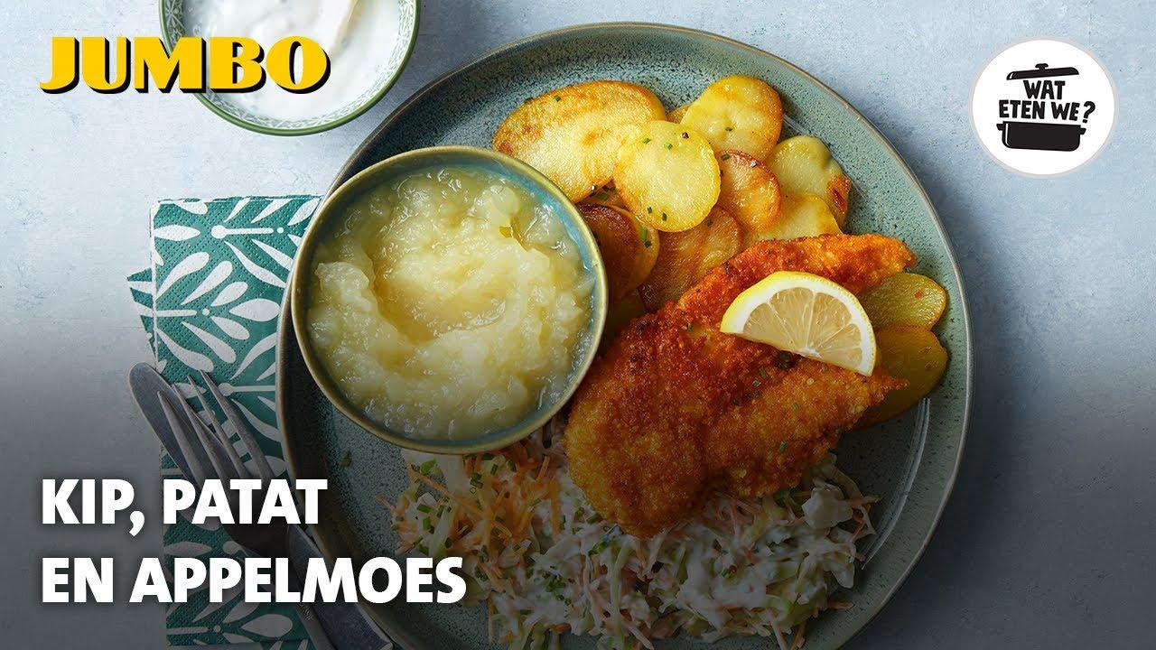 Wat eten we? Gebakken aardappels met appelmoes en kip