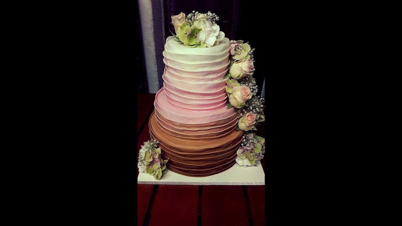 Hochzeitstorte 4 Stockig Ombre Lagen Look Echte Blumen Youtube
