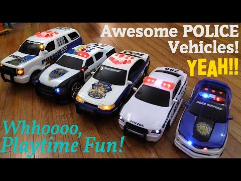 Awesome Children's Toys: Battery Operated POLICE Toy Cars and RC Playtime w/ Hulyan & Maya
