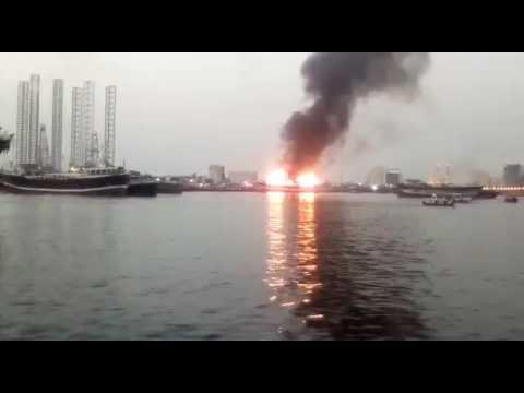 Ship catches fire -| Dubai sharjah | port Khalid |vessel | Al bukhari