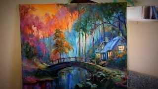 Сумерки в лесу - авторская картина маслом на холсте