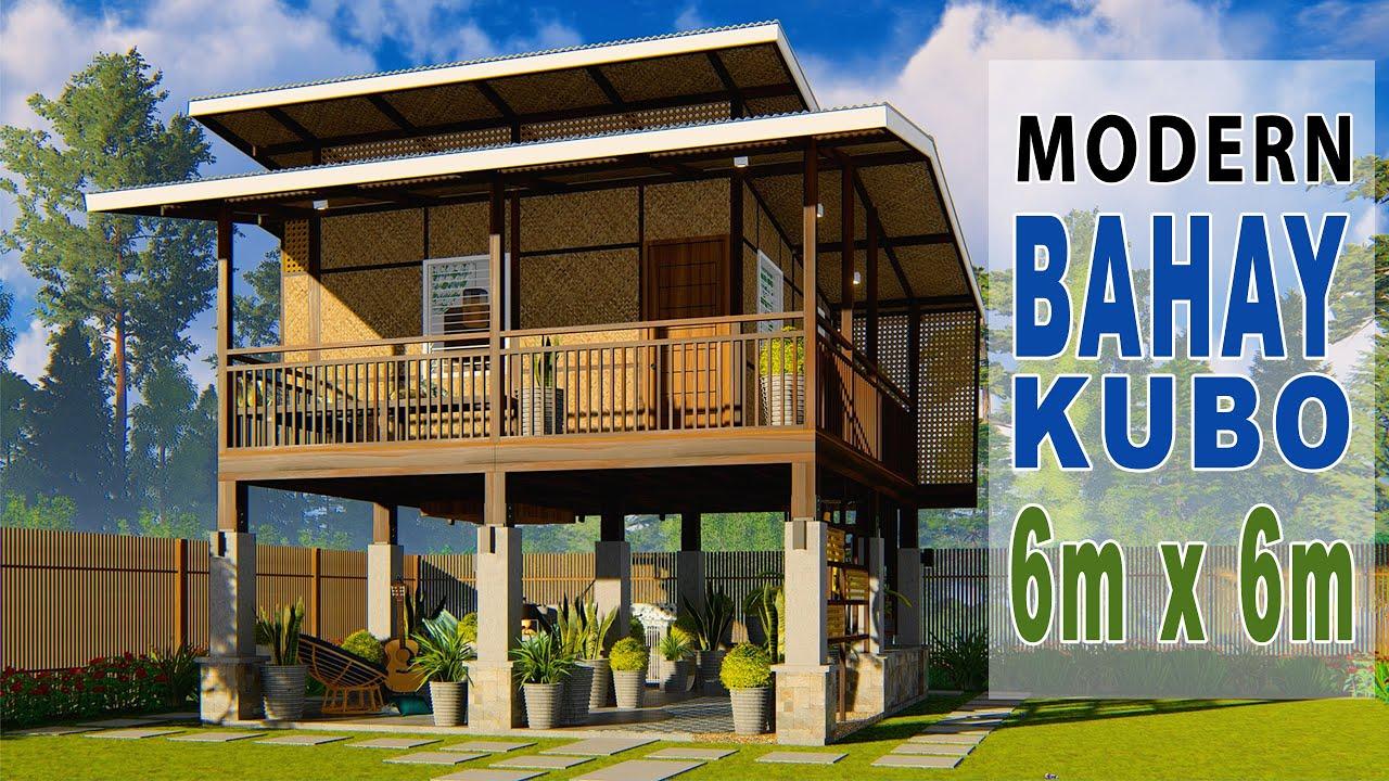 Modern Bahay Kubo Elevated Amakan House Design 6m X 6m Youtube
