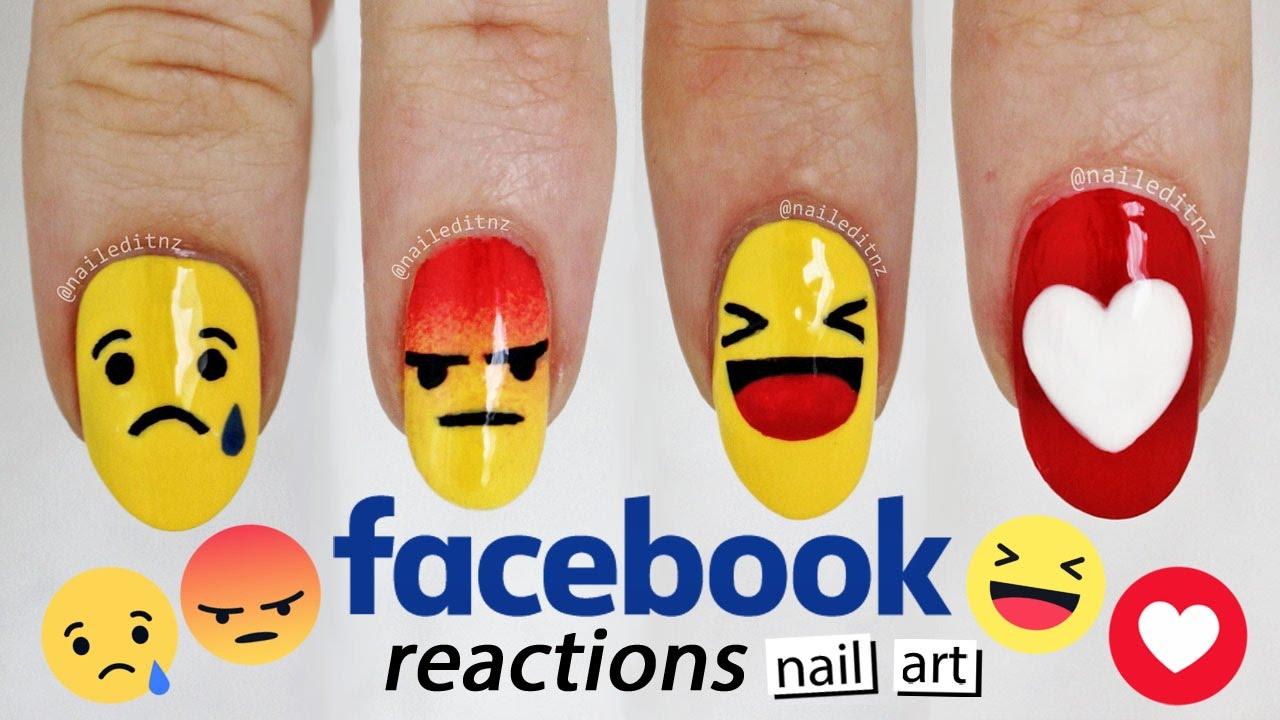 ♥ FACEBOOK REACTIONS NAIL ART ♥ Ultimate FB addict nails | Nailed ...