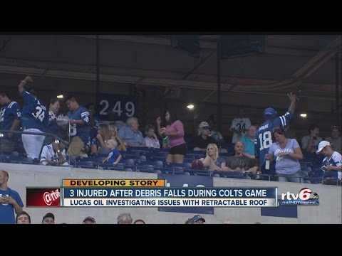 Bolt shears off roof, injures fans at Lucas Oil Stadium