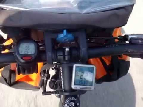 Rotating pedals on the bicycle in Croatia after 108 km