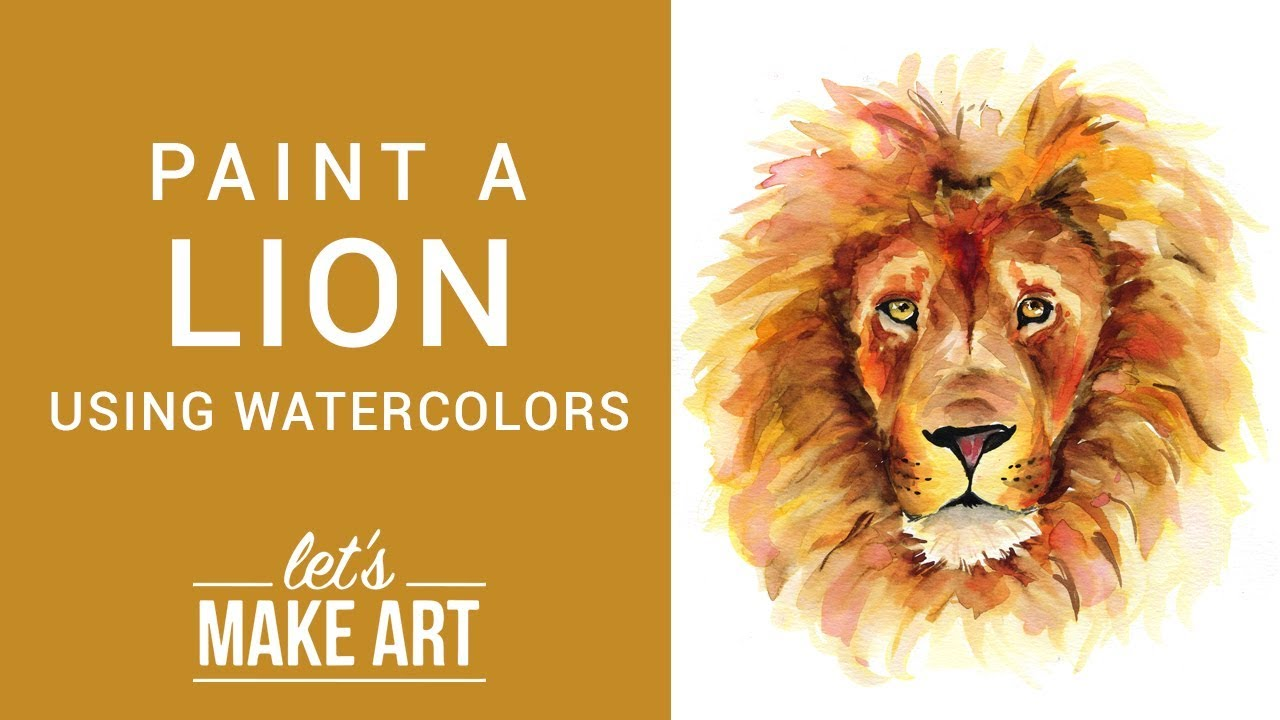 Lion Watercolor Painting Tutorial With Sarah Cray Youtube 3x3 4x4 5x7 available in the following formats: lion watercolor painting tutorial with sarah cray