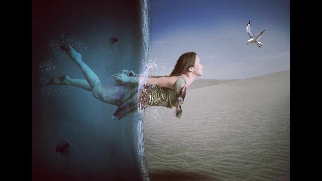 Photoshop Tutorial Girl Floating From Water To Dessert Photo Manipulation