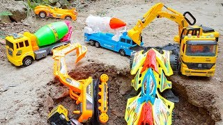 Rocket Truck Military Shooting-Down Mixer Truck & Racing Cars Rescued by Excavator for Children