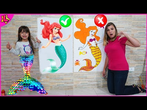 COLORING CHALLENGE WITH 3 COLOR MERMAID WITH LAURINHA AND HELENA   3 MARKER CHALLENGE MERMAID