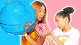 3 gallons of fluffy slime - Kids vs parents giant slime challenge