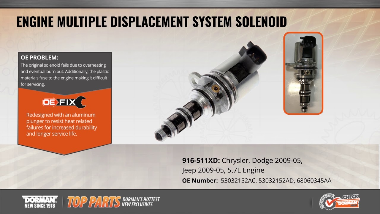 engine multiple displacement system solenoid 916 511xd multiple displacement solenoid dorman products [ 1280 x 720 Pixel ]