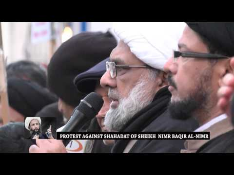 MUS EUROPE PROTEST AGAINST SHAHADAT OF SHEIKH  NIMR BAQIR AL NIMR 04 01 16