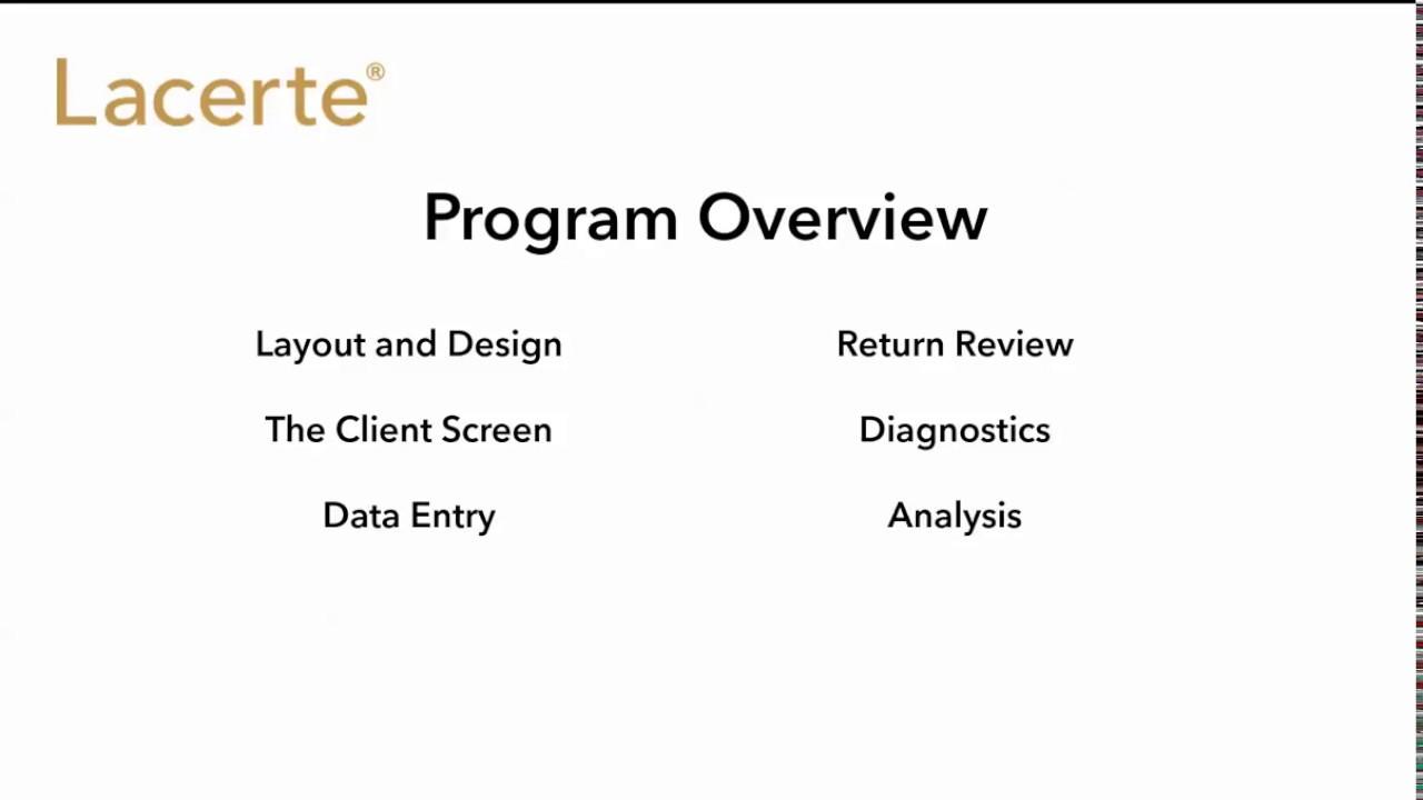 Lacerte Tax Software Evaluation Video: Program Overview
